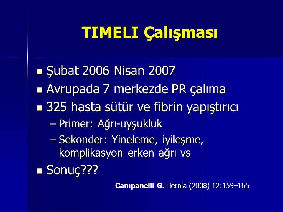 TIMELI Çalışması Şubat 2006 Nisan 2007 Şubat 2006 Nisan 2007 Avrupada 7 merkezde PR çalıma Avrupada 7 merkezde PR çalıma 325 hasta sütür ve fibrin yap