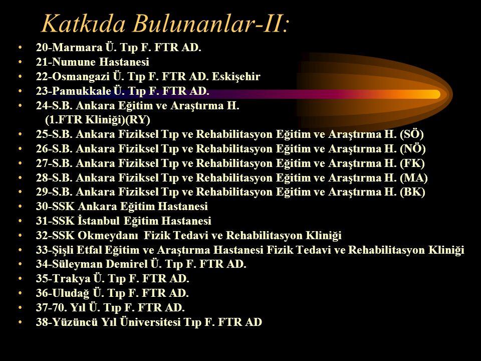 Katkıda Bulunanlar-II: 20-Marmara Ü. Tıp F. FTR AD. 21-Numune Hastanesi 22-Osmangazi Ü. Tıp F. FTR AD. Eskişehir 23-Pamukkale Ü. Tıp F. FTR AD. 24-S.B