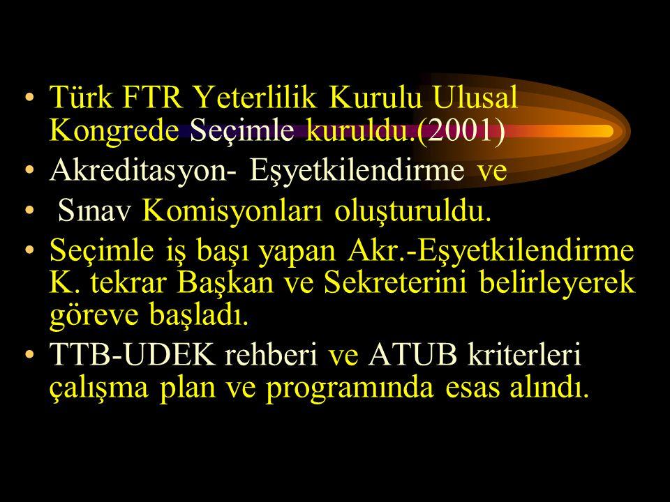 Türk FTR Yeterlilik Kurulu Ulusal Kongrede Seçimle kuruldu.(2001) Akreditasyon- Eşyetkilendirme ve Sınav Komisyonları oluşturuldu. Seçimle iş başı yap