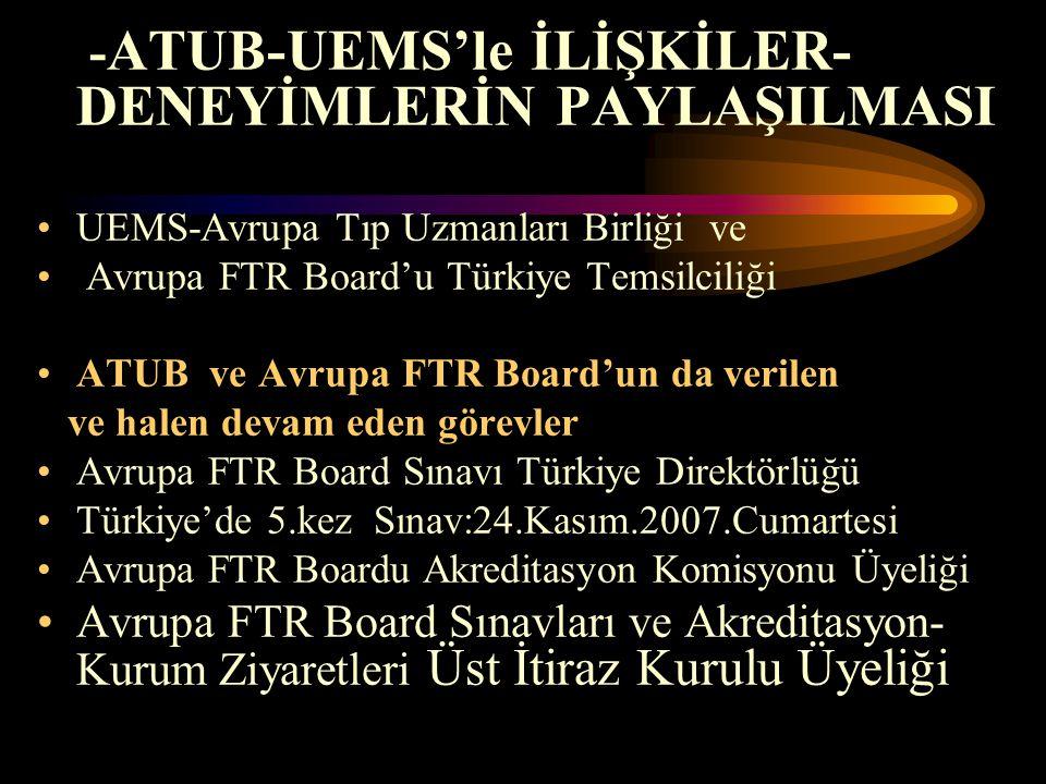 - ATUB-UEMS'le İLİŞKİLER- DENEYİMLERİN PAYLAŞILMASI UEMS-Avrupa Tıp Uzmanları Birliği ve Avrupa FTR Board'u Türkiye Temsilciliği ATUB ve Avrupa FTR Bo