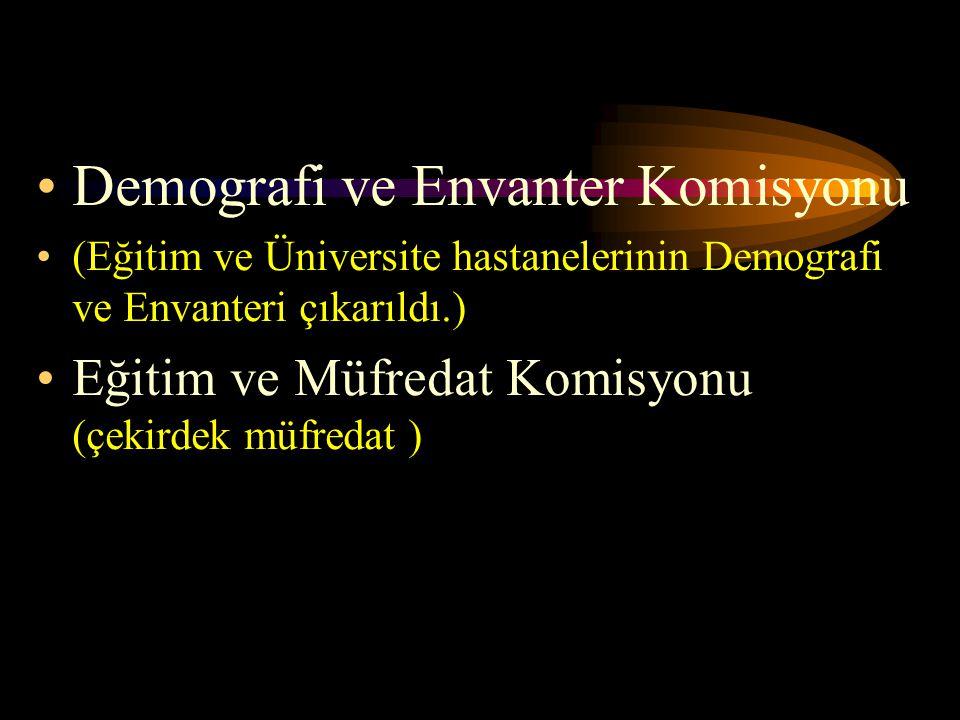 Demografi ve Envanter Komisyonu (Eğitim ve Üniversite hastanelerinin Demografi ve Envanteri çıkarıldı.) Eğitim ve Müfredat Komisyonu (çekirdek müfreda