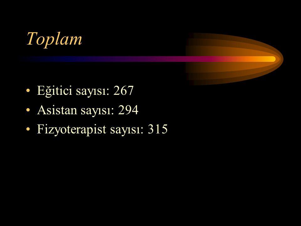 Toplam Eğitici sayısı: 267 Asistan sayısı: 294 Fizyoterapist sayısı: 315