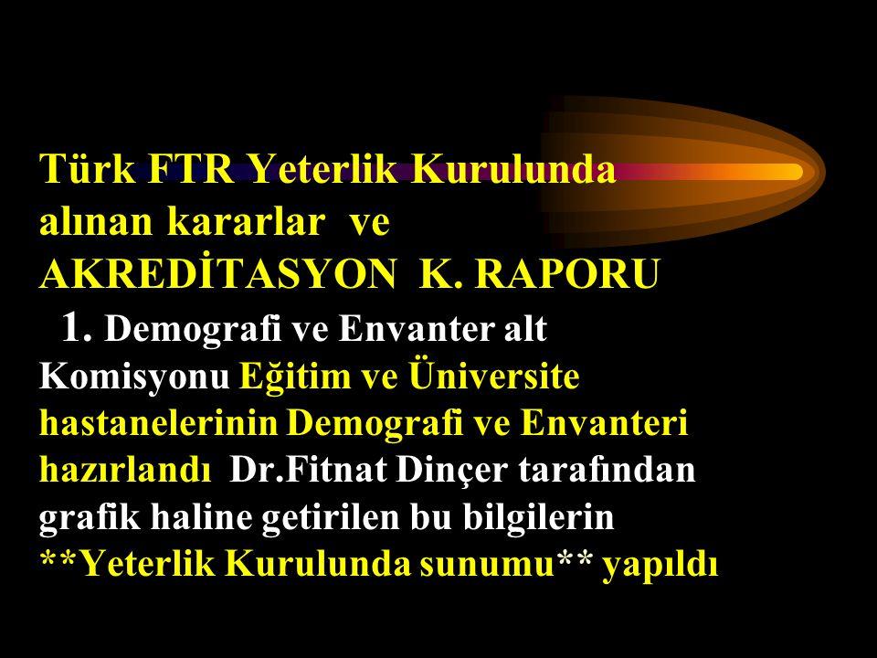 Türk FTR Yeterlik Kurulunda alınan kararlar ve AKREDİTASYON K. RAPORU 1. Demografi ve Envanter alt Komisyonu Eğitim ve Üniversite hastanelerinin Demog
