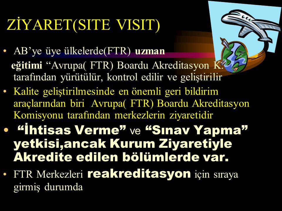 """ZİYARET(SITE VISIT) AB'ye üye ülkelerde(FTR) uzman eğitimi """"Avrupa( FTR) Boardu Akreditasyon K. """" tarafından yürütülür, kontrol edilir ve geliştirilir"""