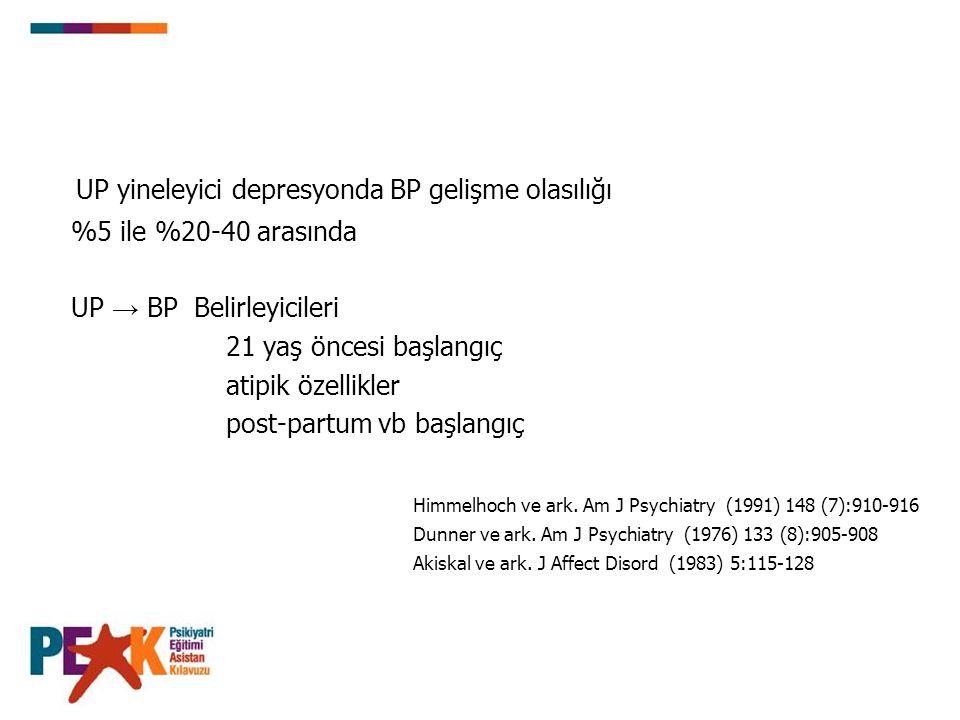 İlk Sıra Li, lamotrijin, Li / VPA + SSRI, olanzapin + SSRI, Li + VPA, Li / VPA + bupropion, ketiapin monoterapisi İkinci SıraKetiapin + SSRI, Li / VPA + lamotrijin Üçüncü Sıra CBZ, olanzapin, VPA, Li + CBZ, Li + Pramipeksol, Li / VPA + VFX, Li + MAOI, EKT Li / VPA / İKA + TCA, Li / VPA / CBZ + SSRI + lamotrijin / EPA / riluzol / topiramat ÖnerilmezGabapentin monoterapisi Bipolar Depresyon Farmakoterapisi için Öneriler CANMAT, 2007