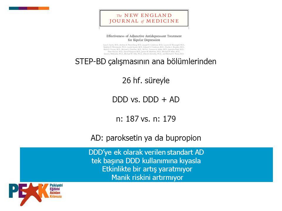 STEP-BD çalışmasının ana bölümlerinden 26 hf. süreyle DDD vs. DDD + AD n: 187 vs. n: 179 AD: paroksetin ya da bupropion DDD'ye ek olarak verilen stand