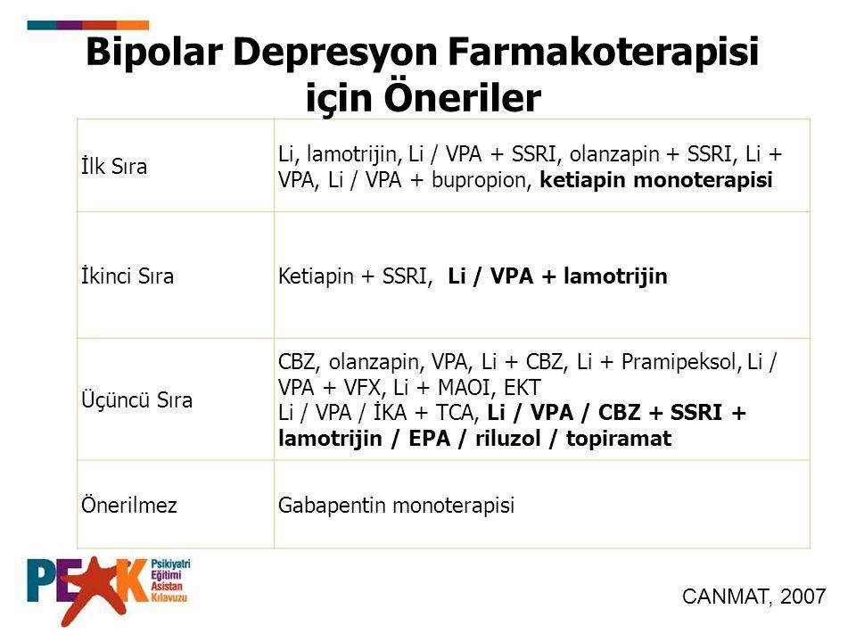 İlk Sıra Li, lamotrijin, Li / VPA + SSRI, olanzapin + SSRI, Li + VPA, Li / VPA + bupropion, ketiapin monoterapisi İkinci SıraKetiapin + SSRI, Li / VPA