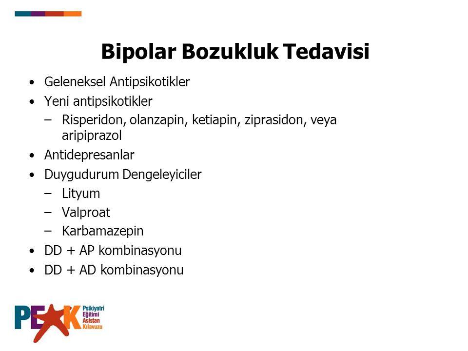 Bipolar Bozukluk Tedavisi Geleneksel Antipsikotikler Yeni antipsikotikler –Risperidon, olanzapin, ketiapin, ziprasidon, veya aripiprazol Antidepresanl