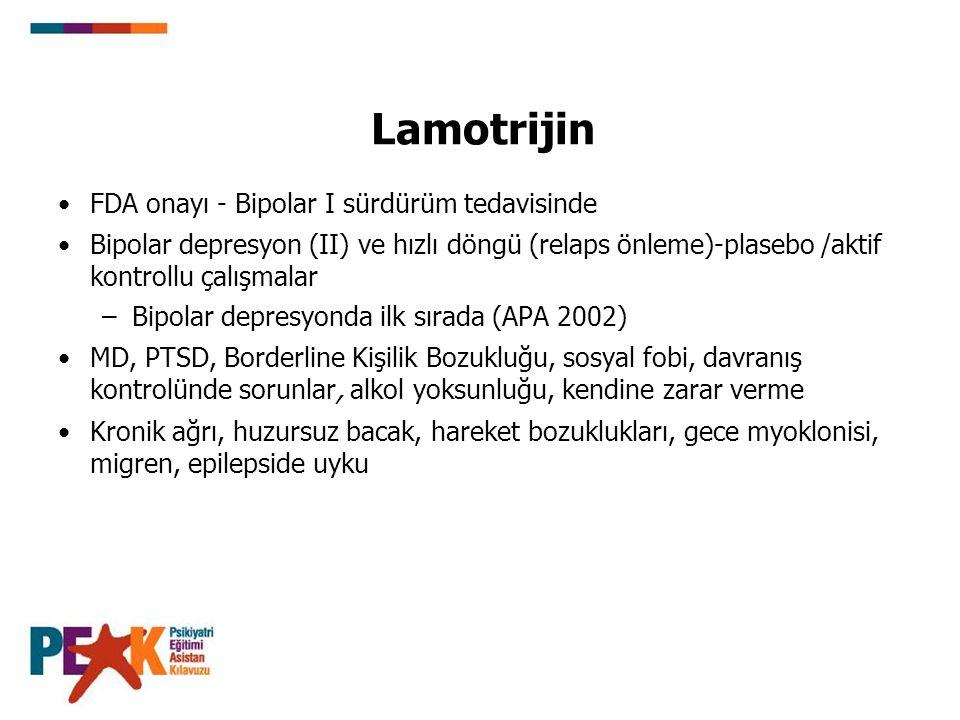 Lamotrijin FDA onayı - Bipolar I sürdürüm tedavisinde Bipolar depresyon (II) ve hızlı döngü (relaps önleme)-plasebo /aktif kontrollu çalışmalar –Bipol