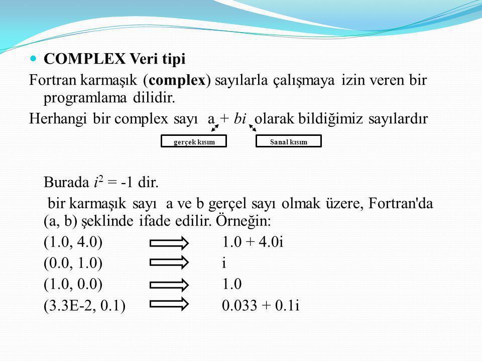 COMPLEX Veri tipi Fortran karmaşık (complex) sayılarla çalışmaya izin veren bir programlama dilidir. Herhangi bir complex sayı a + bi olarak bildiğimi