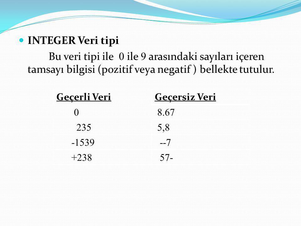 INTEGER Veri tipi Bu veri tipi ile 0 ile 9 arasındaki sayıları içeren tamsayı bilgisi (pozitif veya negatif ) bellekte tutulur. Geçerli VeriGeçersiz V