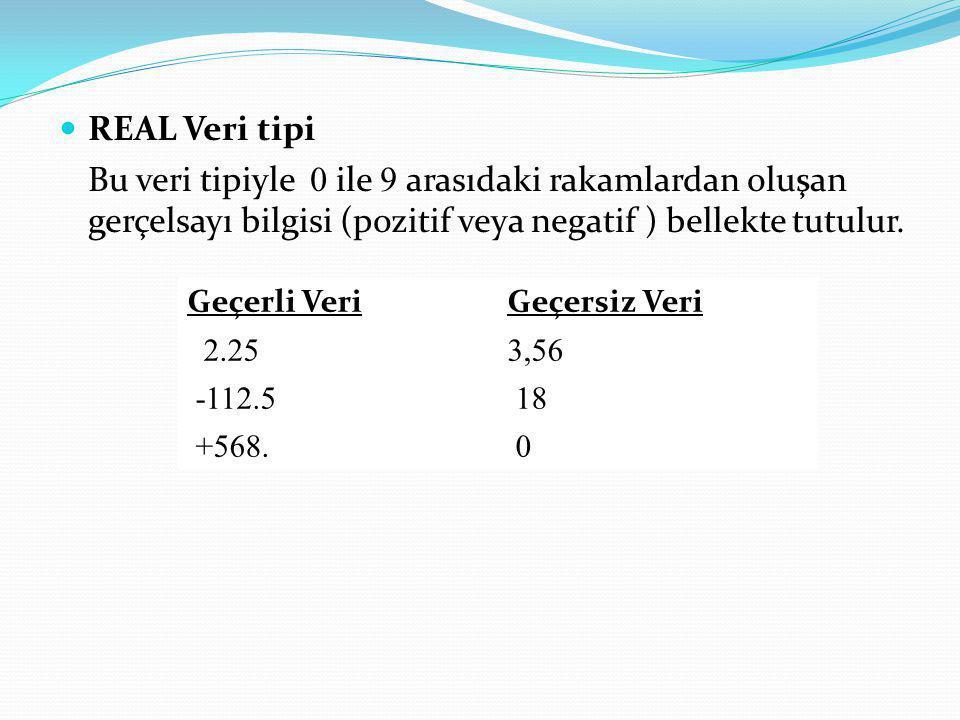 REAL Veri tipi Bu veri tipiyle 0 ile 9 arasıdaki rakamlardan oluşan gerçelsayı bilgisi (pozitif veya negatif ) bellekte tutulur. Geçerli VeriGeçersiz