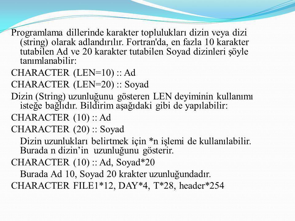 Programlama dillerinde karakter toplulukları dizin veya dizi (string) olarak adlandırılır. Fortran'da, en fazla 10 karakter tutabilen Ad ve 20 karakte