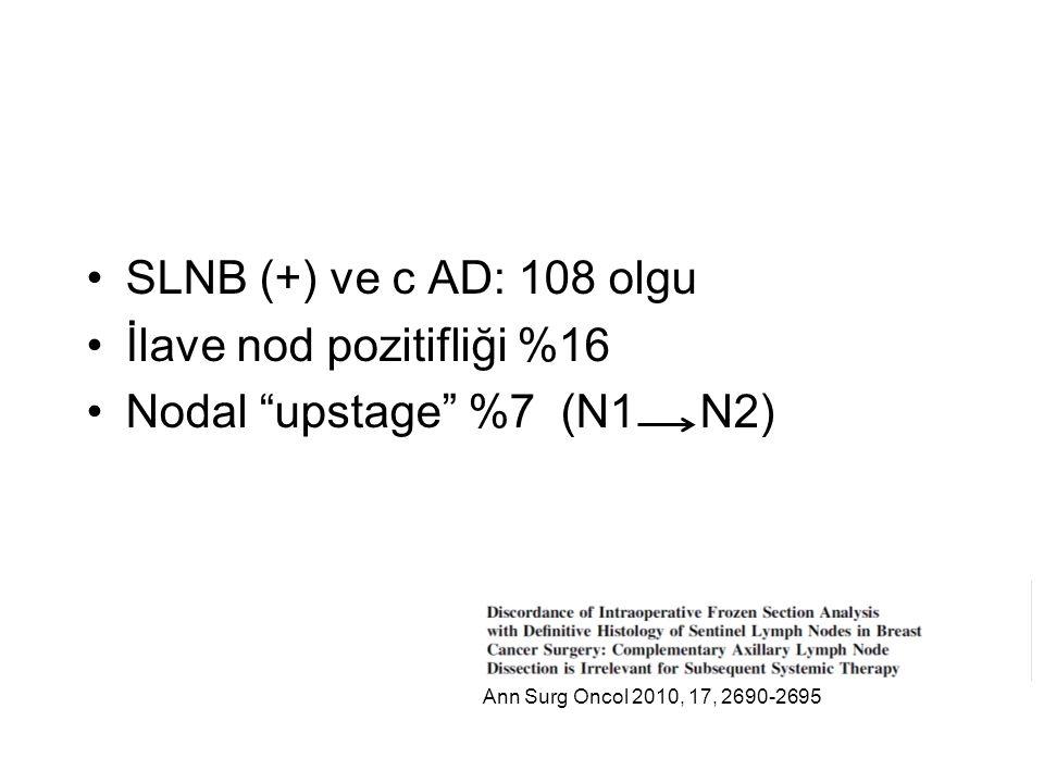 SLNB (+) ve c AD: 108 olgu İlave nod pozitifliği %16 Nodal upstage %7 (N1 N2) Ann Surg Oncol 2010, 17, 2690-2695