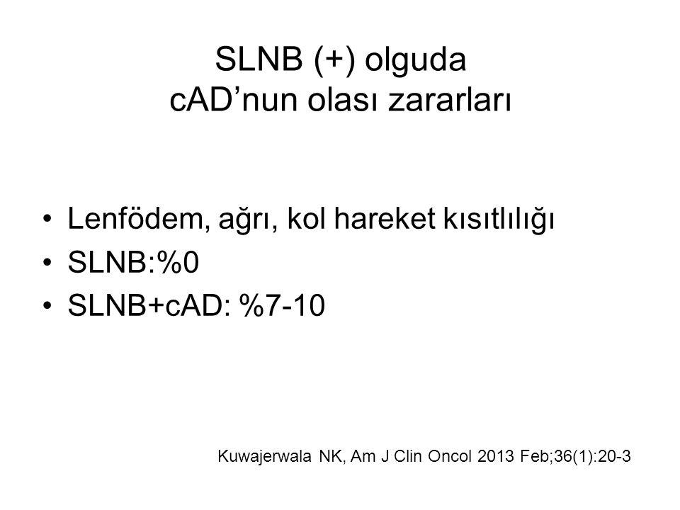 Lenfödem, ağrı, kol hareket kısıtlılığı SLNB:%0 SLNB+cAD: %7-10 SLNB (+) olguda cAD'nun olası zararları Kuwajerwala NK, Am J Clin Oncol 2013 Feb;36(1):20-3