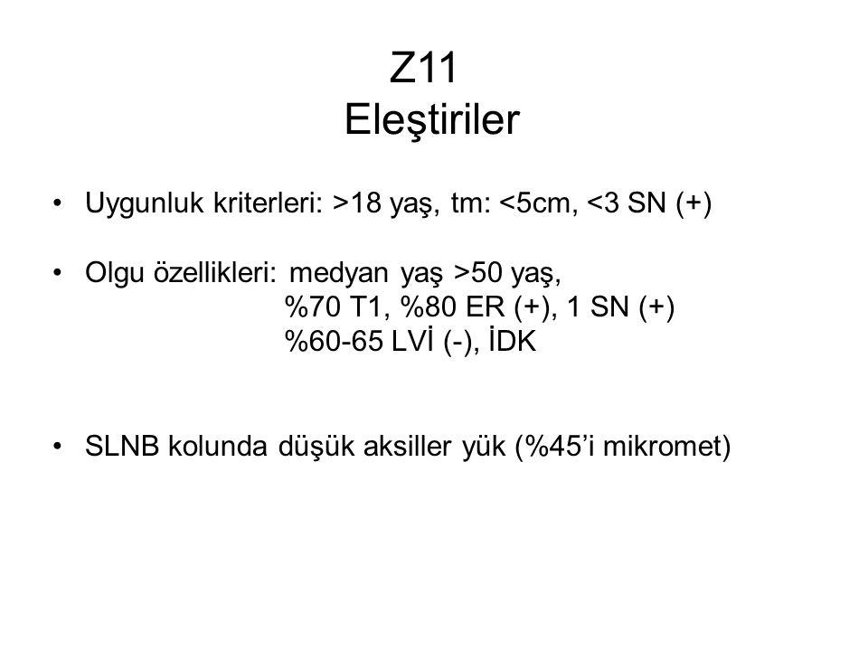 Uygunluk kriterleri: >18 yaş, tm: <5cm, <3 SN (+) Olgu özellikleri: medyan yaş >50 yaş, %70 T1, %80 ER (+), 1 SN (+) %60-65 LVİ (-), İDK SLNB kolunda düşük aksiller yük (%45'i mikromet) Z11 Eleştiriler