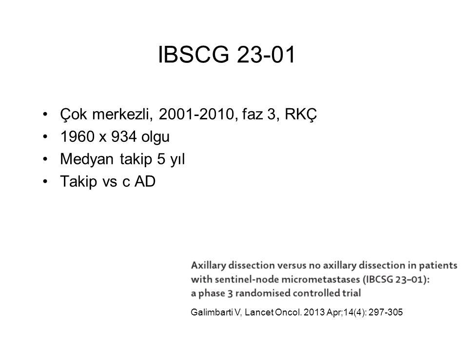 Çok merkezli, 2001-2010, faz 3, RKÇ 1960 x 934 olgu Medyan takip 5 yıl Takip vs c AD IBSCG 23-01 Galimbarti V, Lancet Oncol.