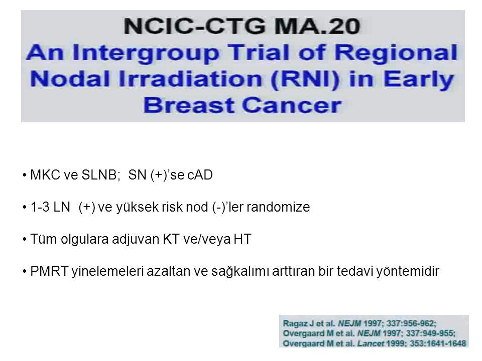 MKC ve SLNB; SN (+)'se cAD 1-3 LN (+) ve yüksek risk nod (-)'ler randomize Tüm olgulara adjuvan KT ve/veya HT PMRT yinelemeleri azaltan ve sağkalımı arttıran bir tedavi yöntemidir
