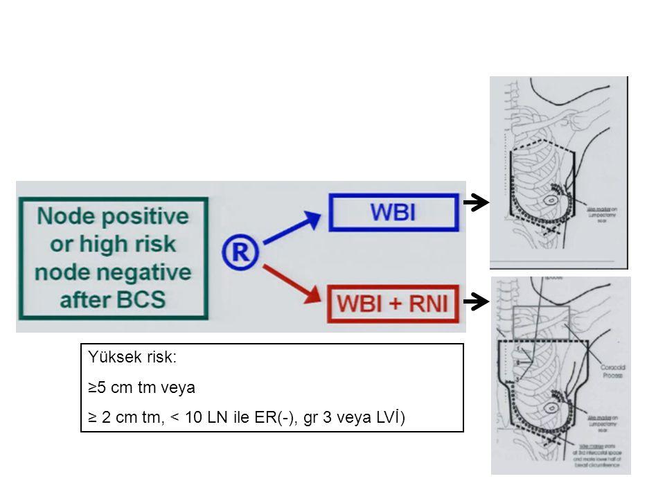 Yüksek risk: ≥5 cm tm veya ≥ 2 cm tm, < 10 LN ile ER(-), gr 3 veya LVİ)