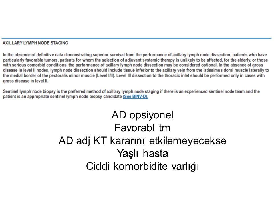 AD opsiyonel Favorabl tm AD adj KT kararını etkilemeyecekse Yaşlı hasta Ciddi komorbidite varlığı
