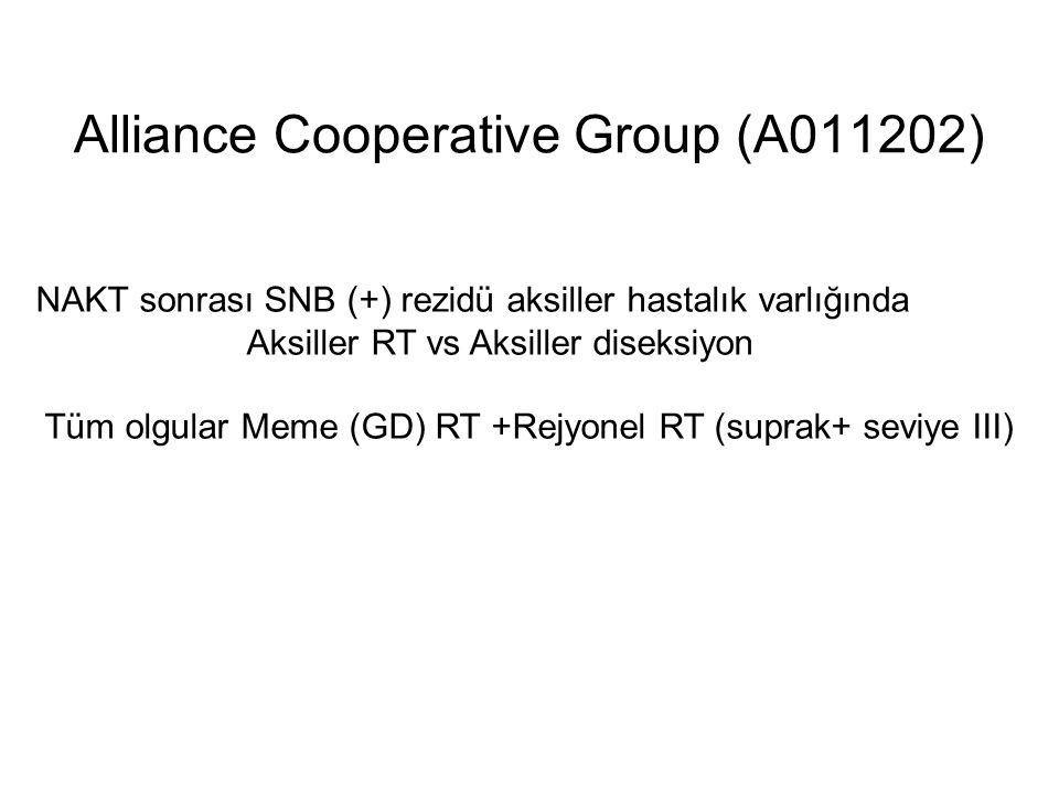 Alliance Cooperative Group (A011202) NAKT sonrası SNB (+) rezidü aksiller hastalık varlığında Aksiller RT vs Aksiller diseksiyon Tüm olgular Meme (GD) RT +Rejyonel RT (suprak+ seviye III)
