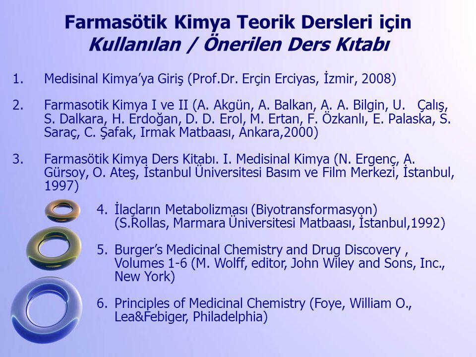 1.Medisinal Kimya'ya Giriş (Prof.Dr. Erçin Erciyas, İzmir, 2008) 2.Farmasotik Kimya I ve II (A. Akgün, A. Balkan, A. A. Bilgin, U. Çalış, S. Dalkara,
