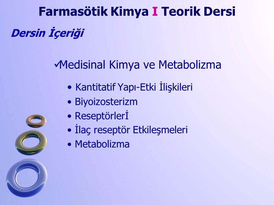 Dersin İçeriği Medisinal Kimya ve Metabolizma Kantitatif Yapı-Etki İlişkileri Biyoizosterizm Reseptörlerİ İlaç reseptör Etkileşmeleri Metabolizma Farm