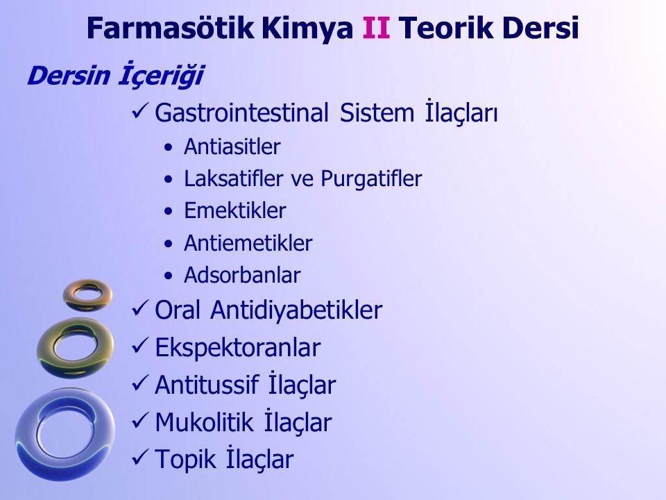 Gastrointestinal Sistem İlaçları Antiasitler Laksatifler ve Purgatifler Emektikler Antiemetikler Adsorbanlar Oral Antidiyabetikler Ekspektoranlar Anti