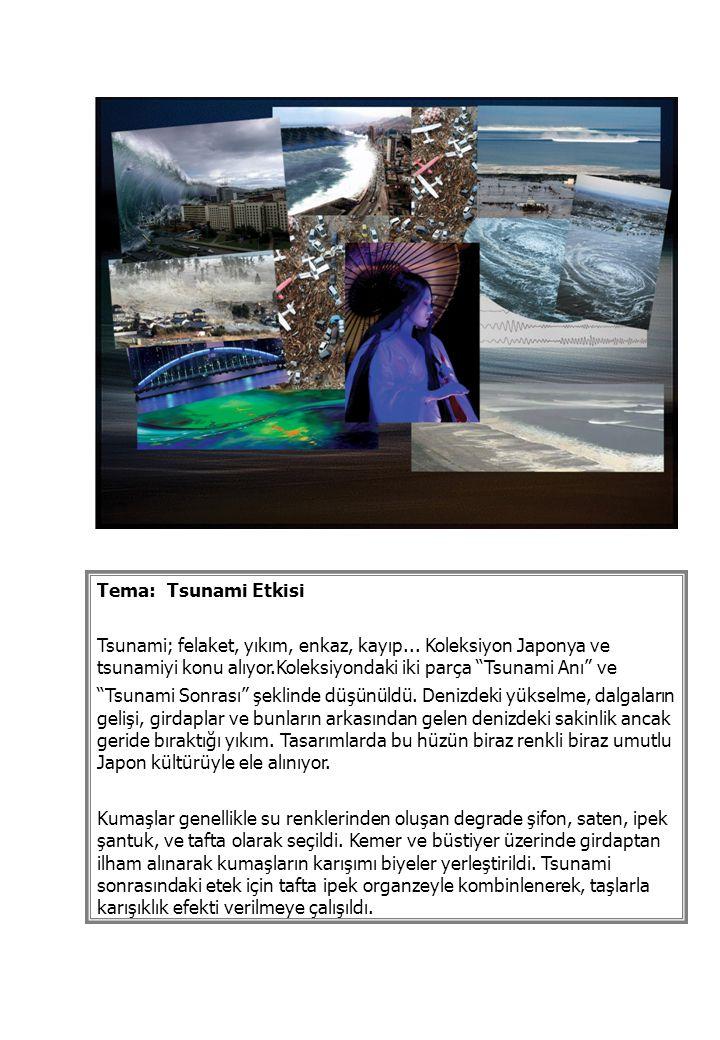 """Tema: Tsunami Etkisi Tsunami; felaket, yıkım, enkaz, kayıp... Koleksiyon Japonya ve tsunamiyi konu alıyor.Koleksiyondaki iki parça """"Tsunami Anı"""" ve """"T"""