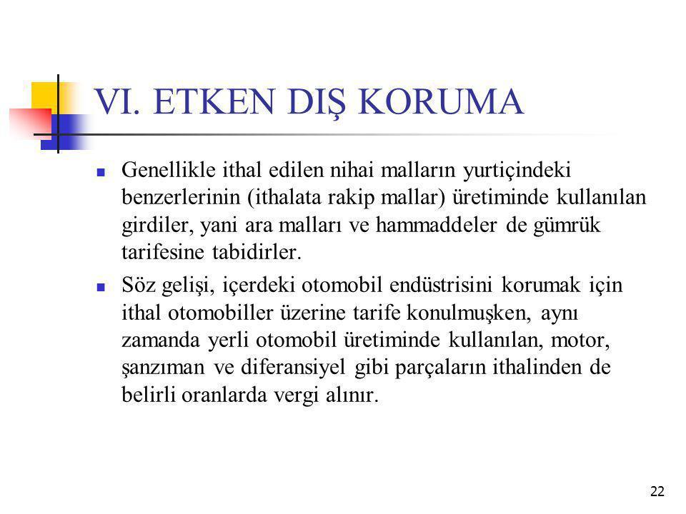 VI. ETKEN DIŞ KORUMA Genellikle ithal edilen nihai malların yurtiçindeki benzerlerinin (ithalata rakip mallar) üretiminde kullanılan girdiler, yani ar
