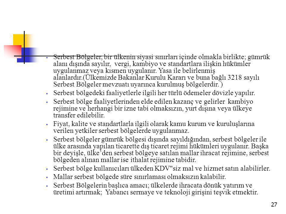 27  Serbest Bölgeler, bir ülkenin siyasi sınırları içinde olmakla birlikte; gümrük alanı dışında sayılır, vergi, kambiyo ve standartlara ilişkin hükümler uygulanmaz veya kısmen uygulanır.