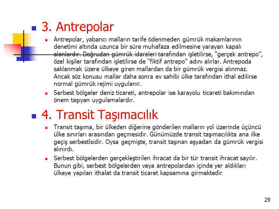 3. Antrepolar Antrepolar, yabancı malların tarife ödenmeden gümrük makamlarının denetimi altında uzunca bir süre muhafaza edilmesine yarayan kapalı al