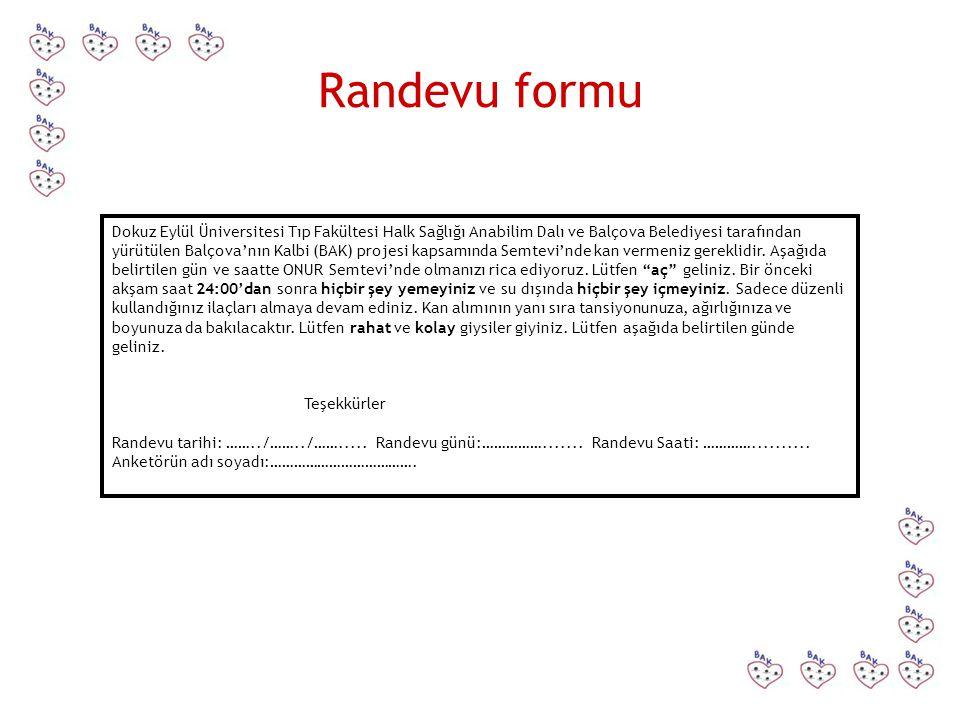 Randevu formu Dokuz Eylül Üniversitesi Tıp Fakültesi Halk Sağlığı Anabilim Dalı ve Balçova Belediyesi tarafından yürütülen Balçova'nın Kalbi (BAK) pro