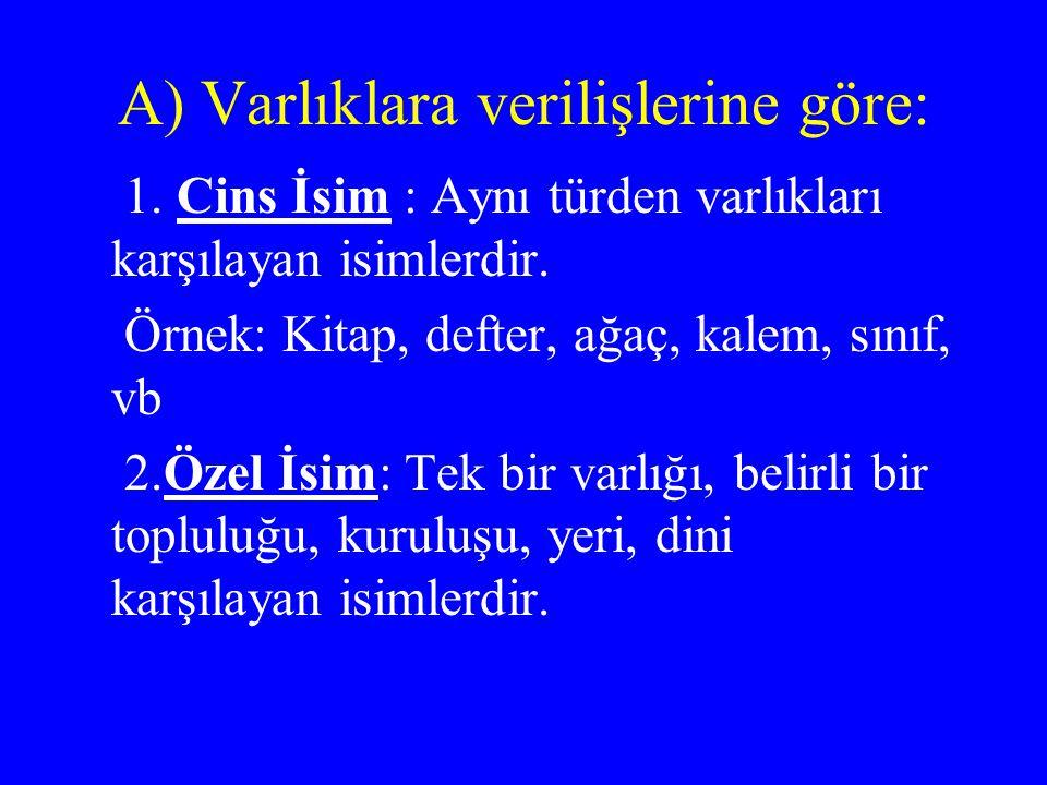 A) Varlıklara verilişlerine göre: 1.Cins İsim : Aynı türden varlıkları karşılayan isimlerdir.