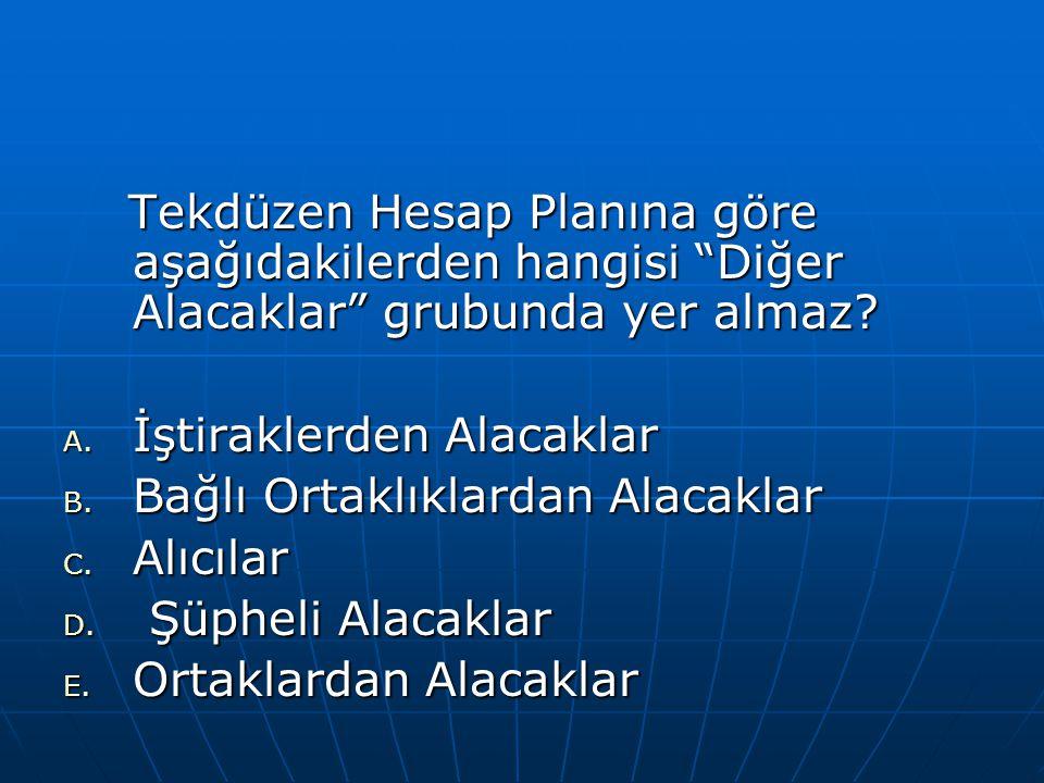 Tekdüzen Hesap Planına göre aşağıdakilerden hangisi Diğer Alacaklar grubunda yer almaz.
