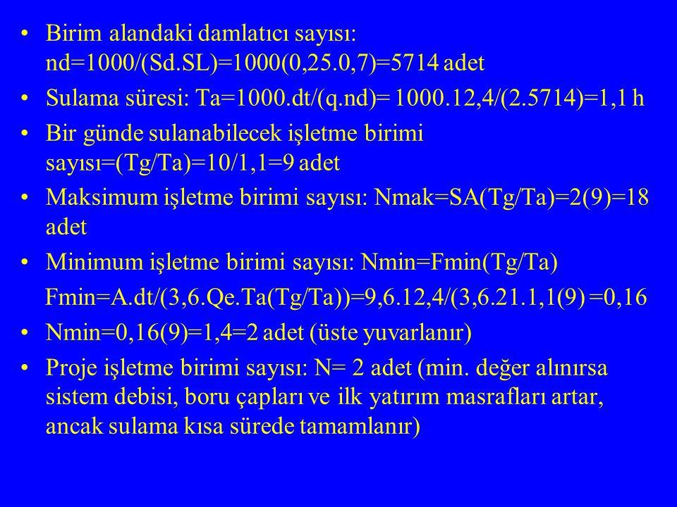 Birim alandaki damlatıcı sayısı: nd=1000/(Sd.SL)=1000(0,25.0,7)=5714 adet Sulama süresi: Ta=1000.dt/(q.nd)= 1000.12,4/(2.5714)=1,1 h Bir günde sulanab