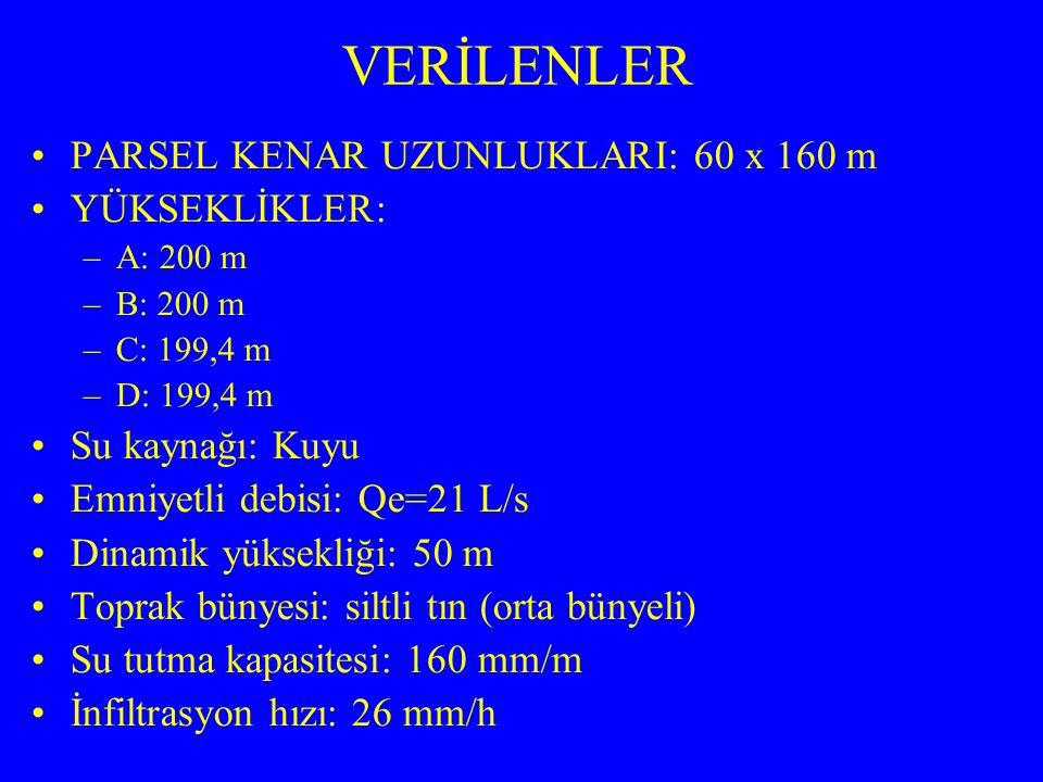VERİLENLER PARSEL KENAR UZUNLUKLARI: 60 x 160 m YÜKSEKLİKLER: –A: 200 m –B: 200 m –C: 199,4 m –D: 199,4 m Su kaynağı: Kuyu Emniyetli debisi: Qe=21 L/s