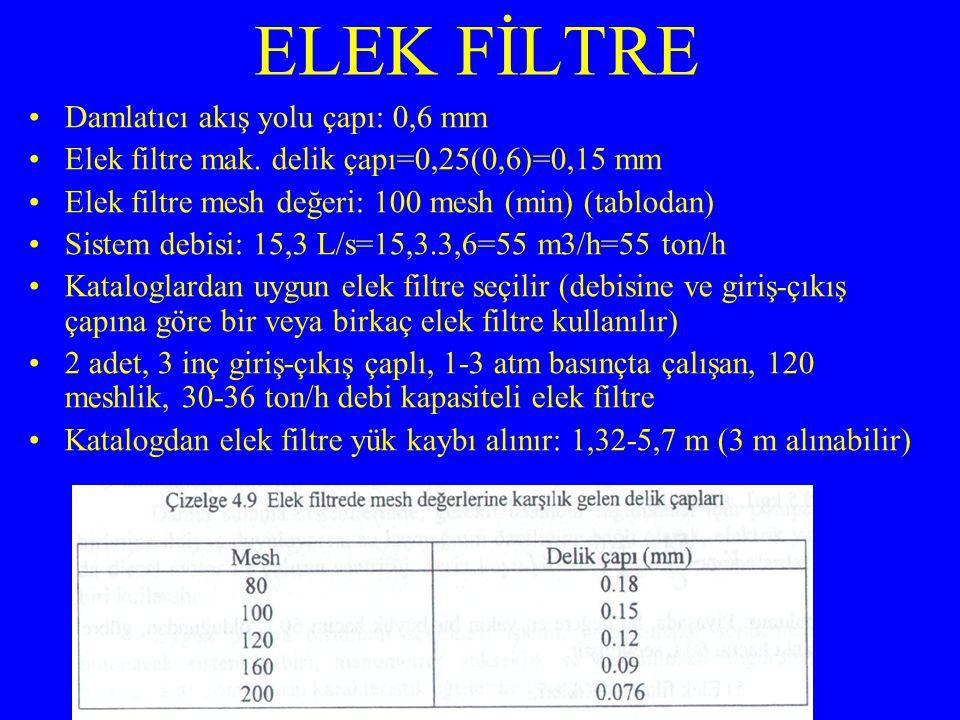 ELEK FİLTRE Damlatıcı akış yolu çapı: 0,6 mm Elek filtre mak. delik çapı=0,25(0,6)=0,15 mm Elek filtre mesh değeri: 100 mesh (min) (tablodan) Sistem d