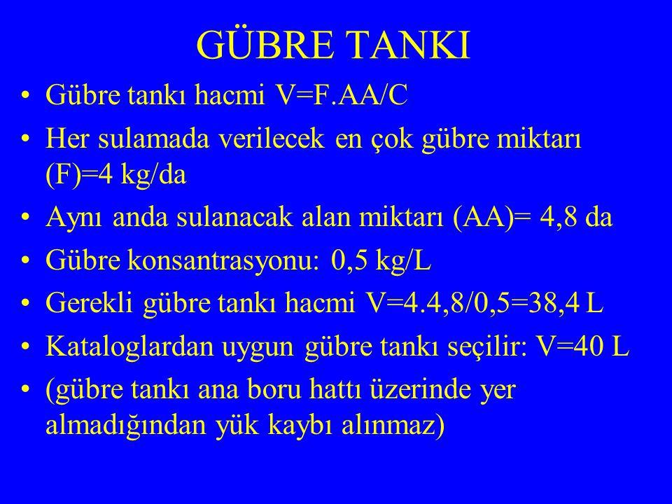 GÜBRE TANKI Gübre tankı hacmi V=F.AA/C Her sulamada verilecek en çok gübre miktarı (F)=4 kg/da Aynı anda sulanacak alan miktarı (AA)= 4,8 da Gübre kon