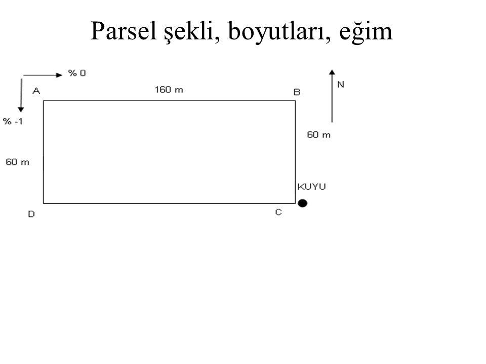 PROJELEME Parsel alanı: A=160.60/1000=9,6 da AB YÖNÜNDE EĞİM: % 0 AD YÖNÜNDE EĞİM: 60 m de 0,6 m eğim var, 0,6/60=1/100=% 1 eğim olur, bayır aşağı eğim olduğundan % -1 alınır.