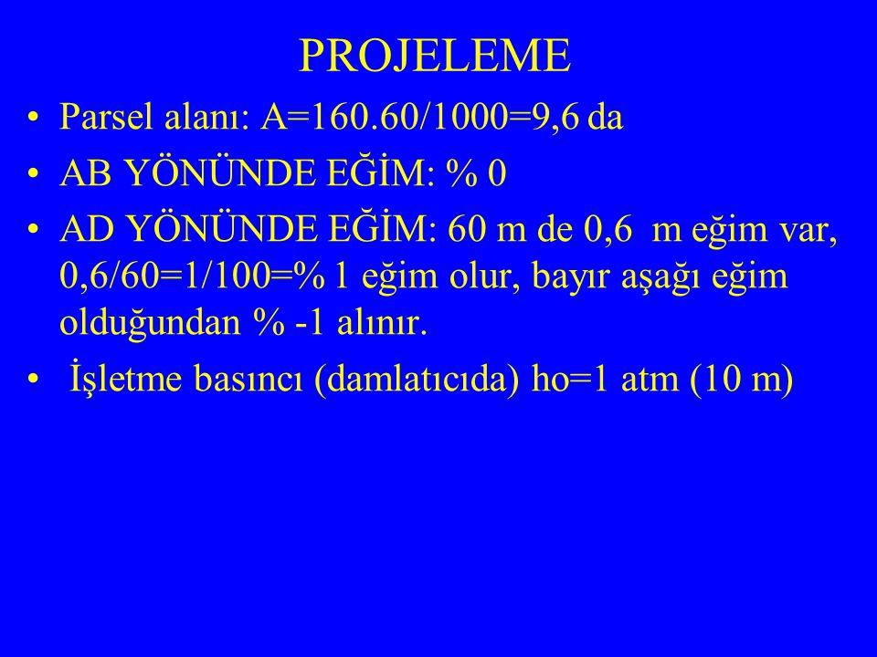 LATERAL ÖZELLİKLERİ Lateral Uzunluğu: 40 m Lateral aralığı: 0,7 m Bir manifold uzunluğu: 60 m Bir manifoldda lateral sayısı: (60/0,7)2=172 adet Toplam lateral sayısı: 172.2=344 adet Toplam lateral uzunluğu: 40.344=13760 m Bir lateral üzerindeki damlatıcı sayısı: 40/0,25=160 adet Lateral debisi: 2.160=320 L/h Lateral eğimi: %0 (eğimsiz) Lateral oran değeri: LL/ho=40/10=4 Damlatıcı x değeri: 0,5 16 mm çap ve x=0,5 için grafiğe bakılır: (sulama sistemlerinin tasarımı kitabı)