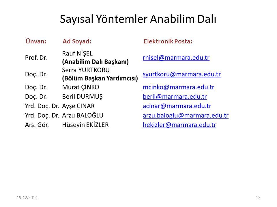 Sayısal Yöntemler Anabilim Dalı Ünvan:Ad Soyad:Elektronik Posta: 19.12.201413