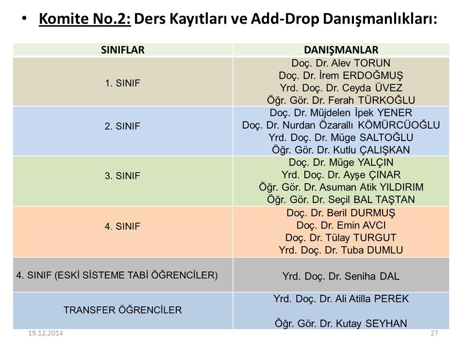 Komite No.2: Ders Kayıtları ve Add-Drop Danışmanlıkları: 19.12.201427