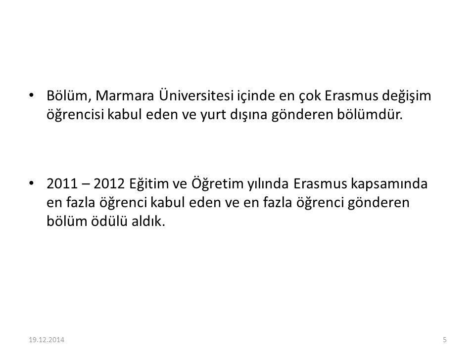 Bölüm, Marmara Üniversitesi içinde en çok Erasmus değişim öğrencisi kabul eden ve yurt dışına gönderen bölümdür. 2011 – 2012 Eğitim ve Öğretim yılında