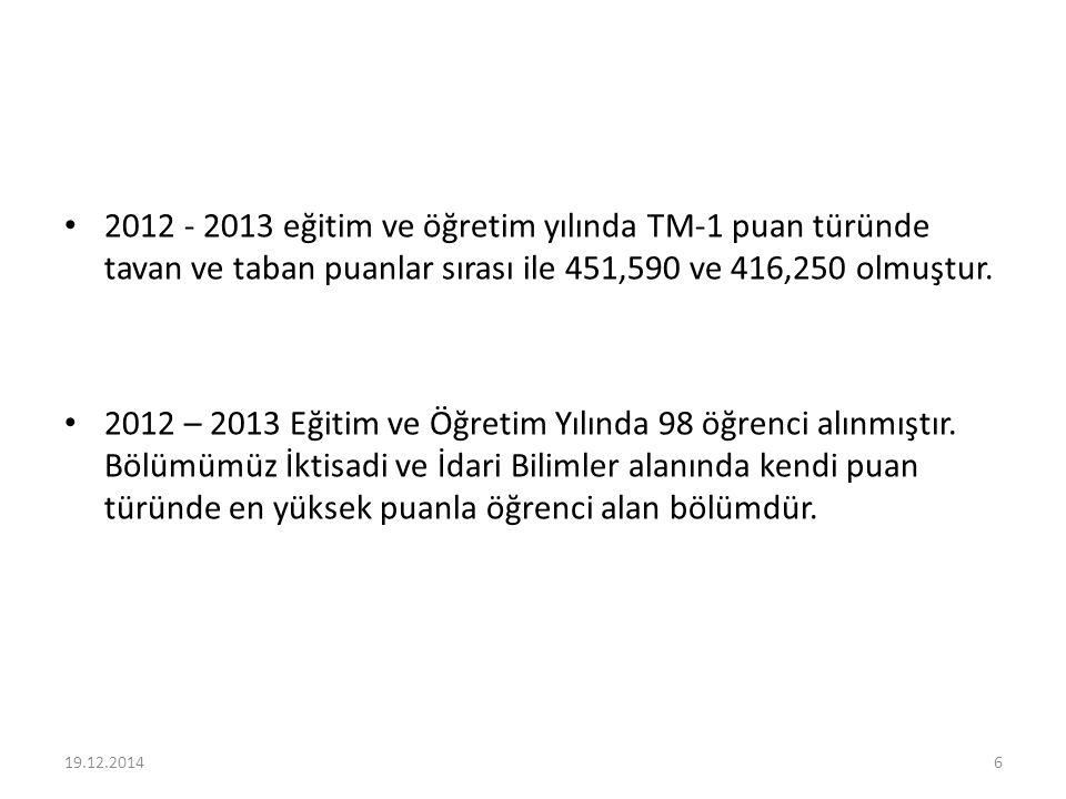 2012 - 2013 eğitim ve öğretim yılında TM-1 puan türünde tavan ve taban puanlar sırası ile 451,590 ve 416,250 olmuştur. 2012 – 2013 Eğitim ve Öğretim Y