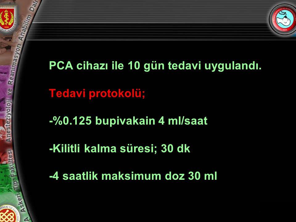 11 PCA cihazı ile 10 gün tedavi uygulandı.