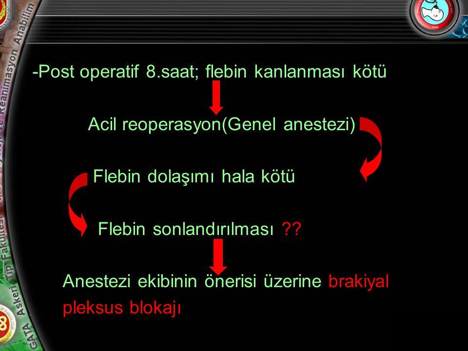 7 -Post operatif 8.saat; flebin kanlanması kötü Acil reoperasyon(Genel anestezi) Flebin dolaşımı hala kötü Flebin sonlandırılması ?? Anestezi ekibinin