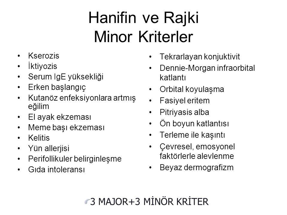 Hanifin ve Rajka Major Kriterler Kaşıntı Tipik morfoloji ve dağılım Kronik olması Özgeçmiş veya soygeçmişte atopi hikayesi Hanifin JM, Rajka G. Diagno