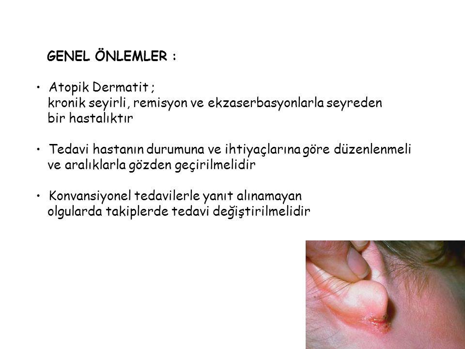 TEDAVİDE MAJÖR FAKTÖRLER 1) Derinin kuruluğu, deri bakımı 2) Allerjenlerin saptanması 3) Kaşıntı kontrolü 4) İnflamasyon 5) Enfeksiyon