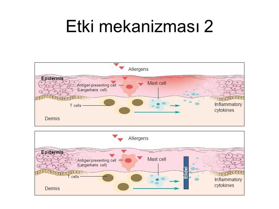 Etki mekanizması 1 Pimekrolimus makrofilin-12'ye bağlanır Kalsinörin'i inhibe eder İnflamatuar sitokinlerin sentez ve salınımını bloke eder T ve mast
